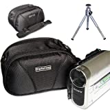 First2savvv black quality camcorder case for panasonic HC-V550CT with mini tripod