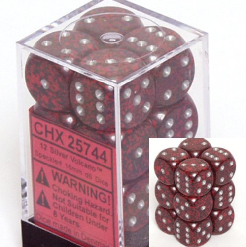 d6 16mm 12 Dice Set Speckled Silver Volcano CHX25744