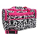 Damask Hot Pink Trim Duffle Cheer Gym Bag 22