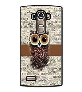 PRINTVISA Coffe seets owl Premium Metallic Insert Back Case Cover for LG G4 - D5706
