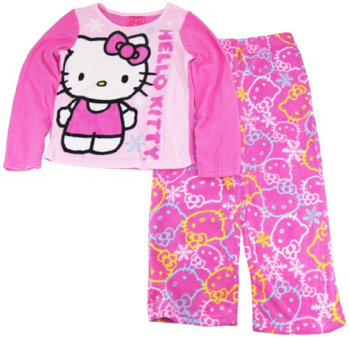 Hello Kitty Big Girls Long Sleeve Warm Sherpa Two Piece Pajama Pant Set Size 8 Pink