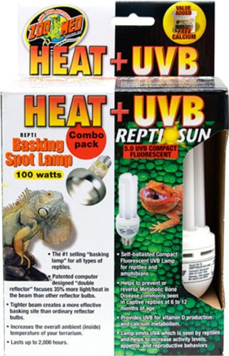 Zoo Med Heat and UVB Basking Spot Lamp and Reptile