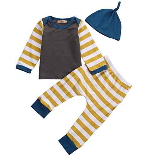 Baby Boys Infant Striped Long Sleeve Top with Leggings and Hat 3pcs Outfits Set (Mustard Pie 12 Months compare prices)