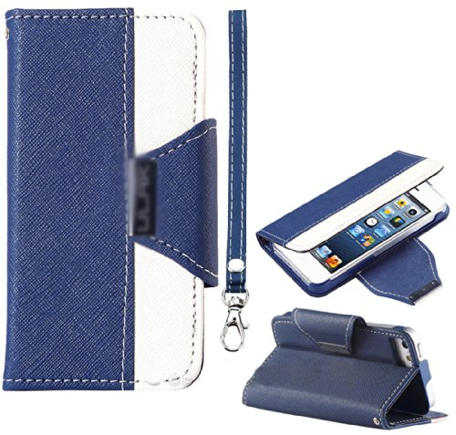 Mylife Navy Blue And White Fancy Design - Textured Koskin Faux Leather (Card And Id Holder + Magnetic Detachable Closing) Slim Wallet For Iphone 5/5S (5G) 5Th Generation Smartphone By Apple (External Rugged Synthetic Leather With Magnetic Clip + Internal