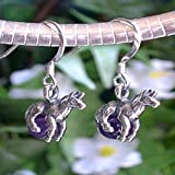 Small Sterling Silver Horse or Unicorn Genuine Amethyst Earrings