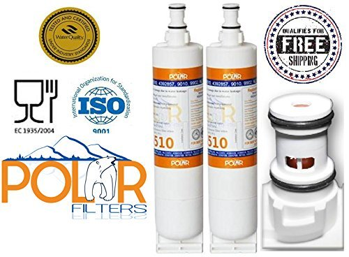 2 Pack of Polar Premium Water Filter to Replace Whirlpool, KitchenAid, Sears, Thermador, 4396508, 4396510, 4392857, 9010, 9902, NLV240V, NLC240V, WF285, WF-NL300, WF-L500, WFNL240, 4396509, 4396918, NLC250, WF-NLC250, WPRF-100, 2305768, 90102, 4392922, 4396163, 4396164, 4396547, 4396548, 2255518, 2255709. (Water Filter For Kitchenaid compare prices)