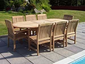 Aviemore 8 Seater Garden Set - Solid Teak 1.8m-2.4m / 6ft-7.8ft Oval Extending Table Fixed Armchairs and Chairs