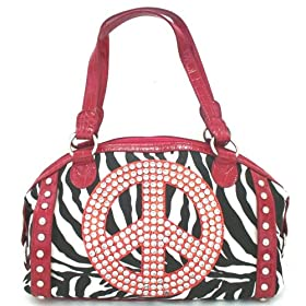 Large Zebra Design Canvas Handbag with Peace Sign and Faux Red Croc Trim