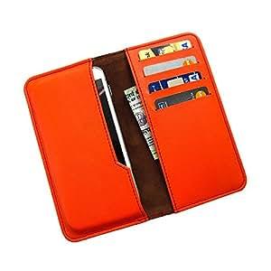 i-KitPit : PU Leather Wallet Flip Pouch Case For Micromax Canvas Blaze HD EG116 (ORANGE)