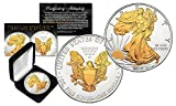2016 American U.S. Silver Eagle 1 oz Coin 2-SIDED SELECT 24KT GOLD Gilded w/BOX