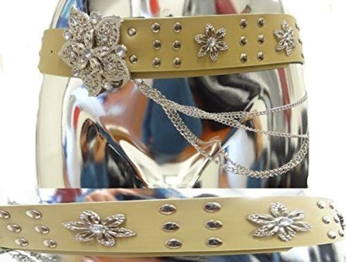 Cuoio catena delle signore delle donne floreale largo Fibbia Diamante Studded Belt 8-16