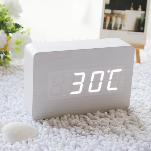 Eiiox Rectangle White Led White Skin Wooden Digital Alarm Clock With Thermometer Time Display Vioce Activated