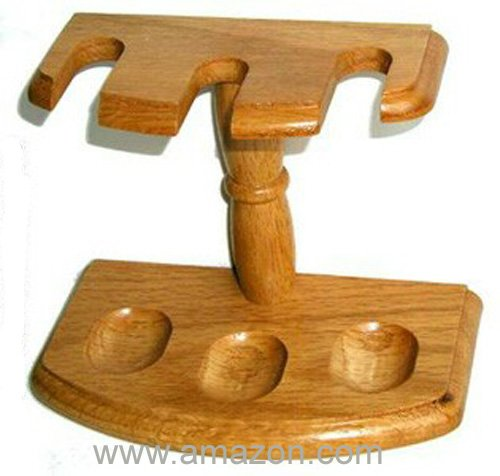 Solid Oak Tobacco Pipe Rack - Holds 3 Pipes