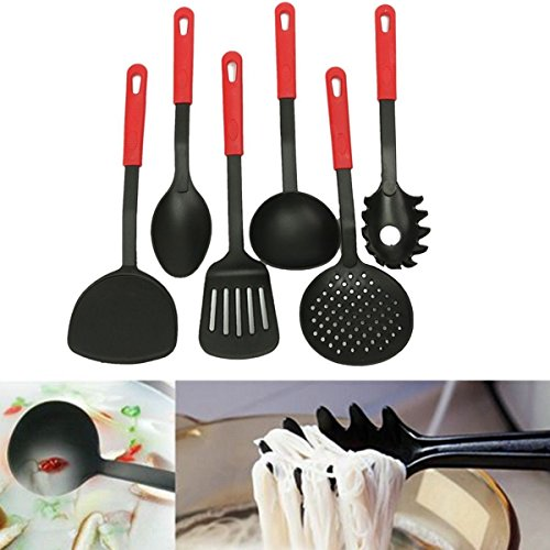 New 6 Piece Black Nylon Kitchen Cooking Utensil Set Gadget Tool Loop Handles (6 Qt Kitchenaid Mixer Black compare prices)