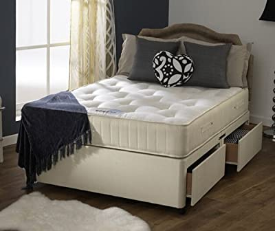 Happy Beds Royale Firm Divan Bed Set Cream Damask Orthopaedic Mattress 4 Drawers Headboard
