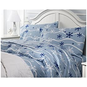 Pike Street 135-Gram Printed Flannel Twin Duvet Cover, Peter Penguin