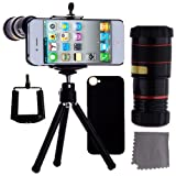 ECO-FUSED iPhone 4 4S Camera Lens Kit Includes / 8x Black Telephoto Manual Focus Telescopic Camera Lens with Tripod / 1 Universal Holder / 1 Mini Tripod / 1 iPhone 4 4S Protection Case / 1 ECO-FUSED Microfiber Cleaning Cloth included