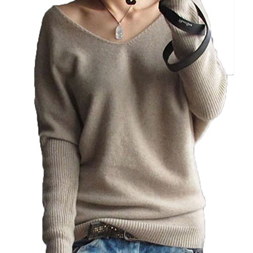 FTSUCQ Womens V Neck Pullover Long Sleeve Slim knitted Sweater Shirt Tan Knitwear,L