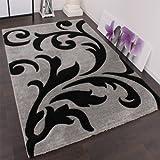 Designer Teppich Festival mit Konturenschnitt Muster Grau Schwarz Silver Black, Grösse:240×330 cm