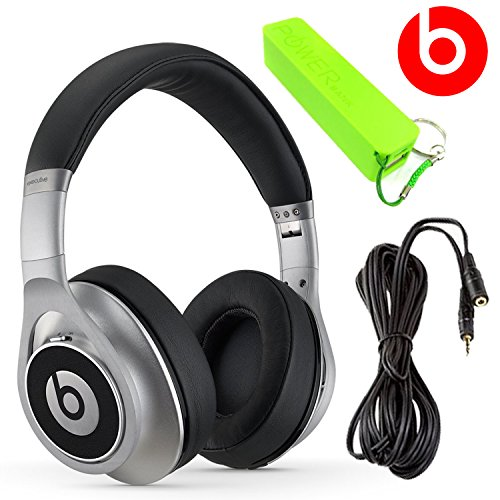 Beats By Dr. Dre Executive Over-Ear Headphones (Silver) + 3.5Mm Stereo Headphone Extension 10 Feet + External Battery Power Bank Pack