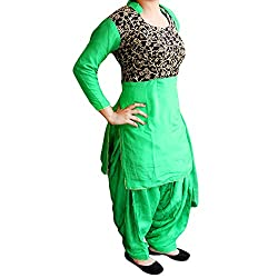 Reet Glamour Women 's Georgette Unstitched Green Punjabi Suit