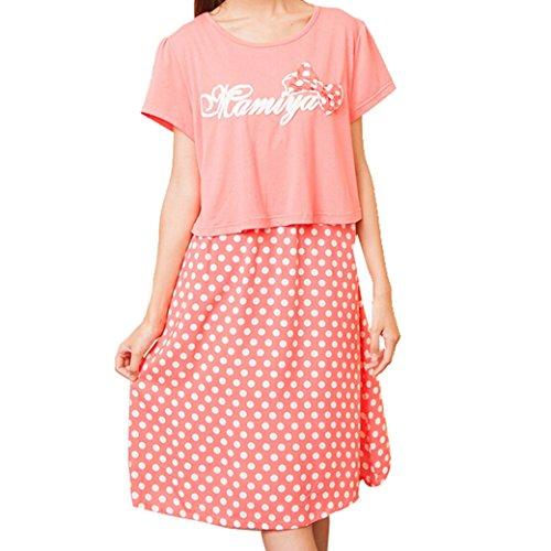 Maternity Nursing Women Short Sleeve Polka Dot Fake Two Pieces Dress Size M - Pink