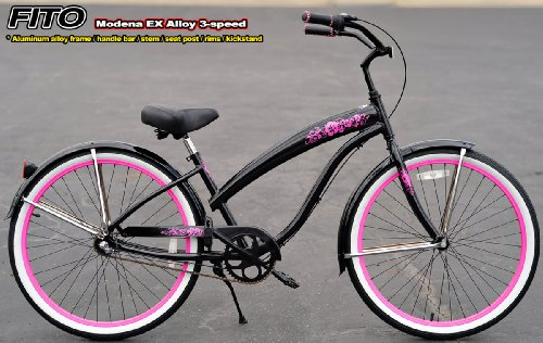 Anti-Rust Aluminum Alloy Anti-Rust Frame, Fito Modena EX Alloy 3-speed - Metallic Black/Pink, women's Beach Cruiser Bike Bicycle, Shimano Nexus Equipped