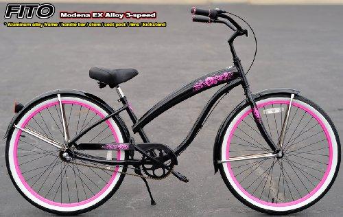 Anti-Rust Aluminum Alloy Anti-Rust Frame, Fito Modena EX Alloy 3-speed - Metallic Black/Pink, women's Beach Cruiser Bike Bicycle, Shimano Nexus Equipped