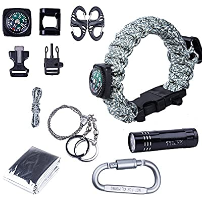 TTLIFE Ultimate 13-pieces Survival Kit including Paracord Bracelet (with Bottle Opener,Compass,Fire Starter,Whistle), LED Flashlight, Emergency Blanket, Carabiner,Wire Saw - BEST Survival Gear