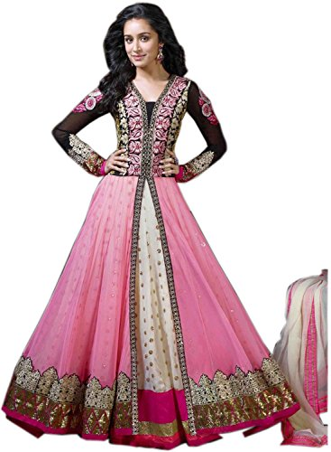 Fabboom New Women Georgette Salwar Suit Set Pink Size (Length 56
