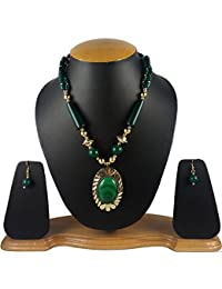 Aradhya Green Color Designer Tibetan Style Necklace With Earrings For Women And Girls