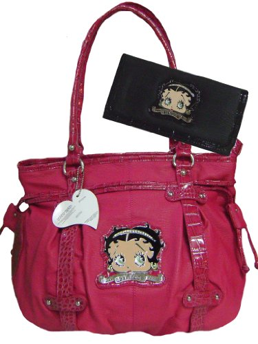 New Betty Boop Fuchsia Leather Like Shoulder Bag Black Wallet & Keychain