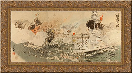 sino-japanese-war-the-japanese-navy-victorious-off-takushan-24x14-gold-ornate-wood-framed-canvas-art