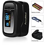 AccuMed® CMS-50D1 Pulse Oximeter Finger Pulse Blood Oxygen SpO2 Monitor w/ Carrying case, Landyard & Battery FDA CE Approved (Black)
