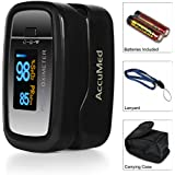 AccuMed CMS-50D1 Pulse Oximeter Finger Pulse Blood Oxygen SpO2 Monitor W Carrying Case Landyard Battery FDA CE...