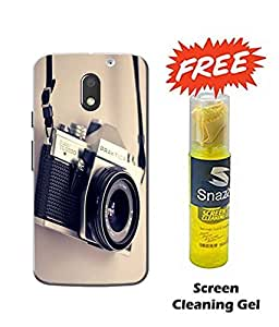 Case Cover Camera Printed Multicolor Hard Back Cover For Moto e3 Power Smartphone (Screen Cleaning Gel Free)