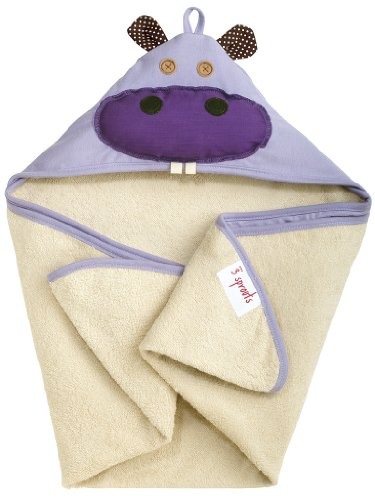 3 Sprouts Hooded Towel, Hippo, Purple