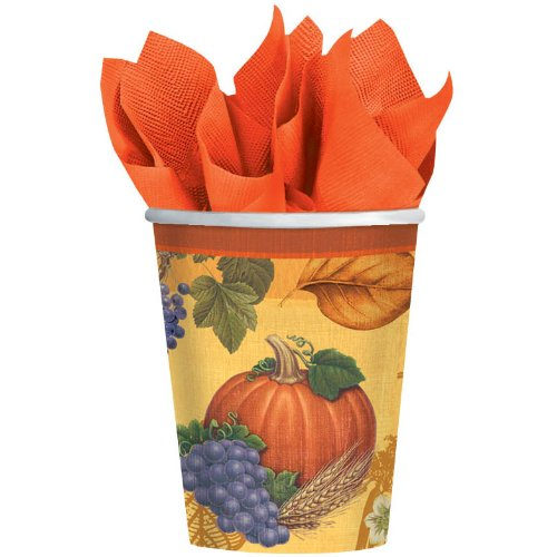 Thanksgiving Cups - Fall Theme Hot/Cold Cups - 9 Oz - 8 Count