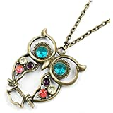Liroyal Art deco owl vintage retro Long necklace jewellery pendant