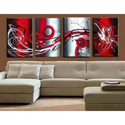 Hand Painted Canvas Art Red Painting Large Oil Painting 4 Piece Wall
