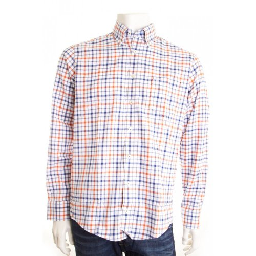 Casa Moda Casual Fit Check Shirt Orange XL