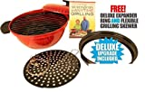 AS SEEN ON TV Minden Anytime Grill – RED FOR USE W/ GAS & electric stovetops WITH FREE DELUXE EXPANDER RING AND FLEXIBLE GRILLING SKEVER