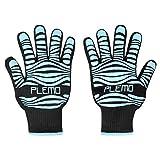 PLEMO 鍋つかみ オーブンミトン シリコン手袋 最高防耐熱温度500℃(932 °F)耐熱防水 滑り止め 左右兼用 男女兼用 キッチン雑貨 クッキング用 電子レンジ オーブン バーベキュー用 フリーサイズ 2個セット (ブルー)