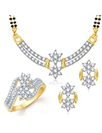 Meenaz Mangalsutra Jewellery Set Combo Gold Plated Cz In American Diamond For Girls &Women Com131