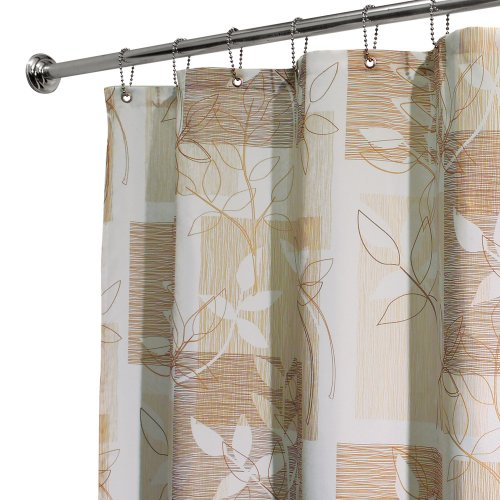 Interdesign Botanical Shower Curtain, 72-Inch By 72-Inch, Brown/Tan