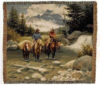 """Clear Water Crossing Western Horse Decorative Tapestry Afghan Throw Blanket 50"""" X 60"""" Usa Made"""