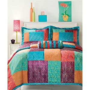 Amazon.com: Bangalore 3 Piece Jewel Tone Multi-colored Mini Comforter ...