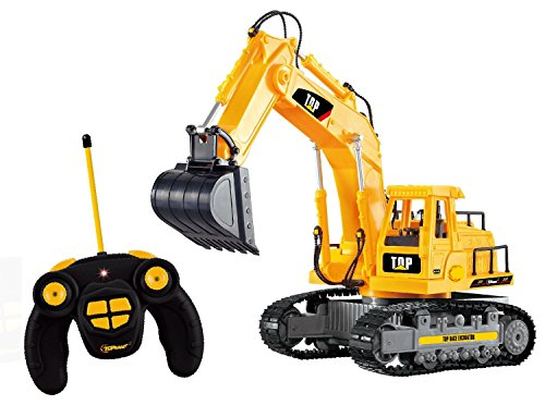 Top Race?7 Channel Full Functional RC Excavator, Battery Powered Electric RC Remote Control Construction Tractor With Lights & Sound (TR-111) by Top Race