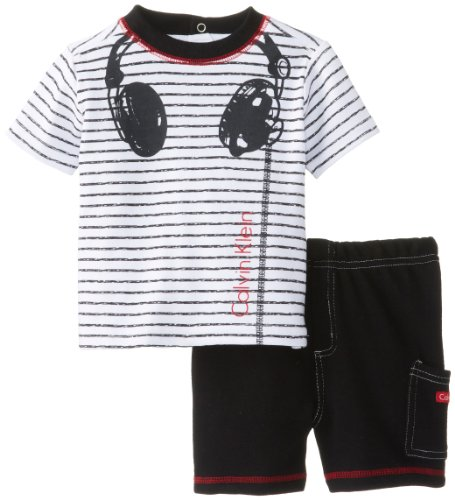 Calvin Klein Baby-Boys Infant Stripes Tee With Short Headphones, Black, 12 Months
