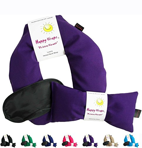 Happy Wraps Herbal Neck Wrap with Lavender Eye Pillow and Sleep Mask - Microwave or Freeze - Purple Cotton (Herbal Microwaveable Heat Pad compare prices)